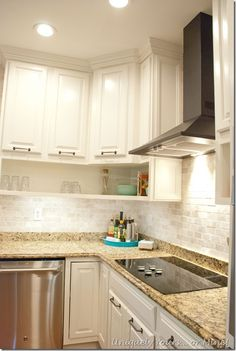 Final stage of DIY kitchen remodel, raised kitchen cabinets, open cabinetry, painted cabinets Kitchen Cabinets To Ceiling, Open Cabinets, Kitchen Cabinet Colors, Kitchen Flooring, Kitchen Backsplash, Diy Kitchen Remodel, Kitchen Redo, Kitchen Styling, Kitchen Dining