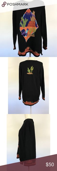 Quacker factory Black Oversize sweater coyotes Sweater features intarsia knit and sequined designs front/back with a southwestern theme including a coyote, pots, desert scenes, and cacti.   Other styling details include:  Pullover  Round rolled neck  Long sleeves with rolled cuffs  Longer rolled hem with side slits   Good preowned condition, minor fading. Quacker Factory Sweaters Crew & Scoop Necks