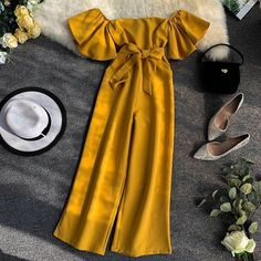 2019 new slash neck solid color flare sleeves with pockets waist slimming temperament wide leg jumpsuit trousers fashion Girls Fashion Clothes, Teen Fashion Outfits, Trendy Outfits, Girl Fashion, Girl Outfits, Fashion Dresses, Cute Outfits, Clothes For Women, Fashion Today