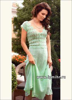 Женственное летнее платье цвета мяты. Крючок и Спицы