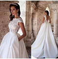 Vintage 2019 White Princess Wedding Dresses with Pockets Lace Appliques Boat Neck Capped Sleeves Backless Bridal Gowns with Sweep Train - The Dress - Hochzeitskleid Cheap Wedding Dresses Online, Wedding Dresses Plus Size, Princess Wedding Dresses, Modest Wedding Dresses, Bridal Dresses, Wedding Gowns, 2017 Wedding, Princess Bridal, Lace Wedding
