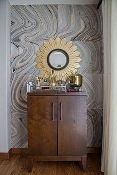 Marbleized agate tiles are easy to apply and make a small nook really stand out.
