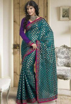 Turquoise Green Chanderi silk Saree with Blouse