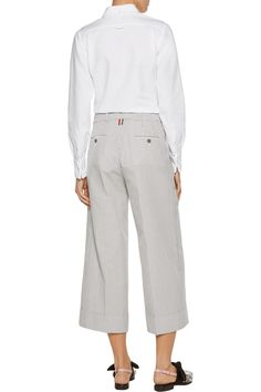 Shop on-sale Thom Browne Cotton-piqué shirt. Browse other discount designer Tops & more on The Most Fashionable Fashion Outlet, THE OUTNET.COM