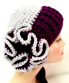 Crochet Flower Hat Silver & Royal Purple by Africancrab on Etsy, $15.00