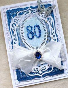 Luxury Handmade Pretty 80th Birthday Card £5.00