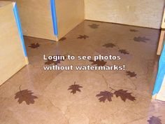 paper bag floor with leaves.  For the kitchen wonder if i can use flour/sugar bags for accents?