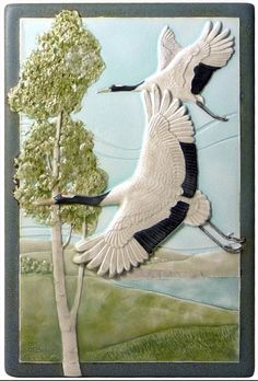 Art tile, ceramic tile, Soul Mates, 6 x 9 inches, wall decor, home decor