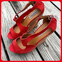 Steve Madden Red Cork Wedges!!  Beautiful bright red strappy Steve Madden wedges. Freshly cleaned. Hot!!  Heel is 5 inches tall but the platform is 1 inch. Steve Madden Shoes Platforms