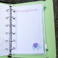 Elephant don't forget to do list FREEBIE for Personal Filofax.  Cute free printable