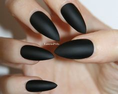 Matte Black Stiletto false nails! by LaurasPills on Etsy https://www.etsy.com/listing/219538413/matte-black-stiletto-false-nails