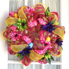 Vibrant Easter Deco Mesh Wreath #decomesh #easter #wreaths