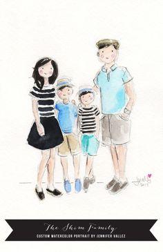 the shim family custom watercolor portrait by jennifer vallez / sallyjshim