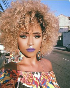 Blonde Curly Natural Hair Medium lenght