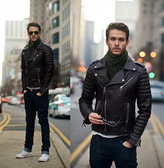 Leather Jacket, Scarf, Sunnies, White V Neck, Converse High Tops #men #fashion #menfashion