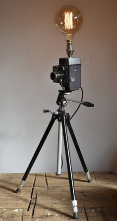 Vintage Movie Camera Tripod Lamp
