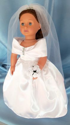5-piece wedding dress ensemble for American Girl doll and other 18 inch dolls