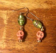 Pretty Dangle Skull Earrings by RhinoAccessories on Etsy