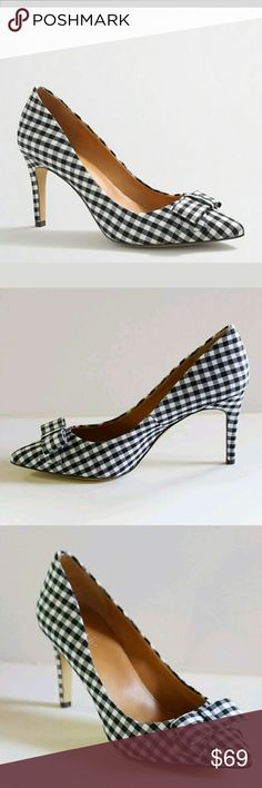 J.crew factory gingham Isabelle pumps 7.5 NIB Black and ivory  Looks like dark navy from a distance NO TRADES J. Crew Shoes Heels