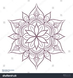 Mandala Success. Circular ornament on a white background. Handmade drawing. Arabic, Oriental, Indian decorative element. Coloring book for adults.