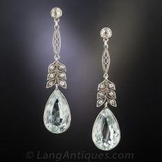 Vintage Aquamarine and Diamond Drop Earrings
