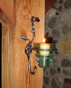 wall mount hand forged sconce with hook