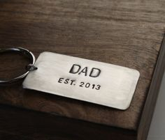 Personalized Dad Keychain New Dad Gift Idea by sierrametaldesign, $24.00 unique custom gifts for dad