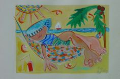 Vacation, painting on paper from a person relaxing in a hammock. $110,00, via Etsy.