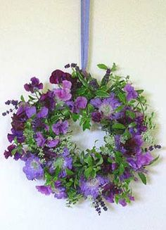 Sweet Peas and Lavender Decor Wreath