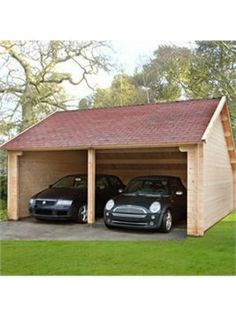 Semi-covered timber carport can become a garage if you install the gates. More wooden buildings at https://www.quick-garden.co.uk/wooden-garages-aluminum-carports.html