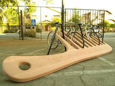 4.) Giant Comb Bike Rack: By Knowhow Shop LA, this comb bike rack weighs over 400 lbs and is made of Mangaris and powder-coated steel.