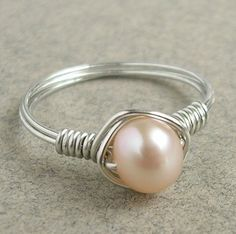 Simply Peach Pearl Sterling Silver Ring by youandmeandbead on Etsy, $11.00