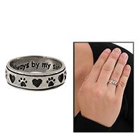 """Love this! Always By My Side Paw Sterling Ring at The Animal Rescue Site. Cherish the love shared with your pet with our shining sterling ring. Whether loyally at your side or fondly remembered in absence, our heart and paw print patterned ring honors your bond with the engraved sentiment """"Always by my side, Forever in my Heart."""""""