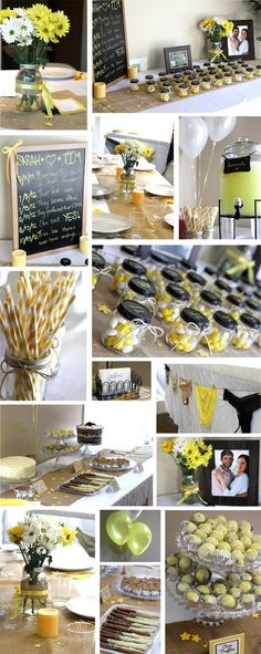 Yellow, white & burlap Country themed Bridal Shower    I love the burlap on the table.