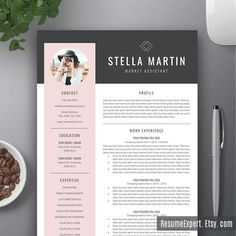 Modern Resume Template / CV Template Cover Letter by ResumeExpert If you like this design. Check others on my CV template board :) Thanks for sharing! Creative Cv Template, Modern Resume Template, Resume Template Free, Creative Resume Design, Layout Template, Design Templates, Letter Templates, Templates Free, Free Resume Examples
