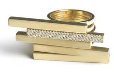 Alexandra Jefford Les Poutres Apparentes 18ct gold with diamond pave