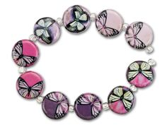 Small Round Pink Monarch Butterfly Print Decoupage Bead Strand