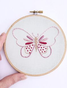 Hoop Art Butterfly Wall Art Hand Embroidered by thegirlystitch