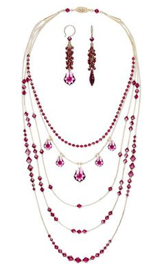 Multi-Strand Necklace and Earring Set with Swarovski Crystal and Gold-Filled Beads and Findings