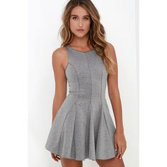 Sugar and Sass Heather Grey Dress ($48) ❤ liked on Polyvore featuring dresses, grey, form fitting dresses, stretchy dresses, gray sleeveless dress, gray dress and stretch dress