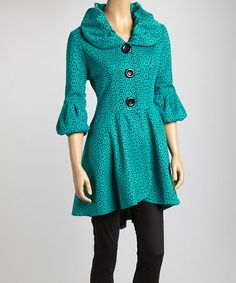 Take a look at this Green & Black Geometric Floral Lace Jacket by Come N See on #zulily today!