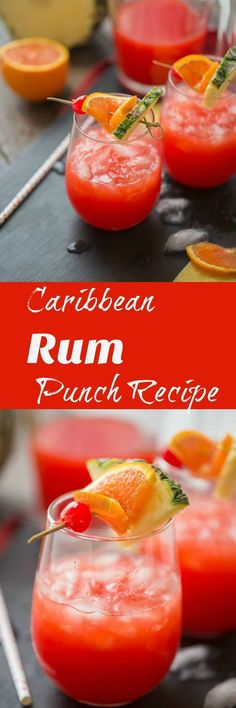 Summers and fruity cocktails go hand in hand that is why you need this rum punch recipe! The vibrant color and the Caribbean flavor will have your dreaming of the beach! via Summers and fruity cocktails Cocktail Fruit, Fruity Cocktails, Non Alcoholic Drinks, Summer Cocktails, Refreshing Drinks, Fun Drinks, Fruity Alcohol Drinks, Dark Rum Cocktails, Fruity Mixed Drinks