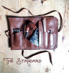 This is The Standard Pipe & Tobacco pouch, by Sorringowl & Sons, the original Pipe & Tobacco Roll Up Pouch. It is handmade, one at a time,
