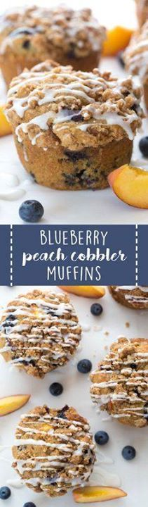 Blueberry Peach Cobb Blueberry Peach Cobbler muffins are perfect...  Blueberry Peach Cobb Blueberry Peach Cobbler muffins are perfect for the summer season! This recipe makes jumbo sized muffins full of juicy peaches and ripe blueberries! Recipe : ift.tt/1hGiZgA And My Pinteresting Life | Recipes, Desserts, DIY, Healthy snacks, Cooking tips, Clean eating, ,home dec  ift.tt/2v8iUYW