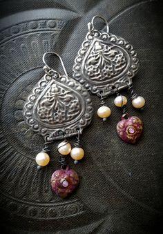 Lotus Lotus Flower Zen Hearts Vintage Brass Pearls