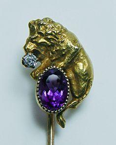 Art Nouveau Lion Leo Old European Diamond Amethyst Stick Pin 14K Gold