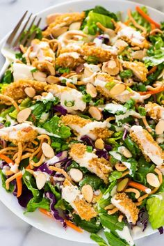 You Have Meals Poisoning More Normally Than You're Thinking That Tastes Exactly Like Applebees Oriental Chicken Salad Easy Copycat Restaurant Recipe That Anyone Can Make At Home. Formula At Wellplated Louisiana Chicken Pasta, Oriental Salad, Cooking Recipes, Healthy Recipes, Healthy Salads, Cooking Kale, Savory Salads, Baker Recipes, Cooking Turkey