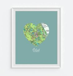 Orlando Florida Heart Vintage Map ART by droppedpinshop on Etsy