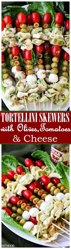 Tortellini Skewers with Olives Tomatoes and Cheese Recipe - Fun and festive appetizer plate with cheesy tortellini flavorful manzanilla olives, grape tomatoes and fresh mozzarella cheese threaded on s (Cheese Table Wedding) Holiday Appetizers, Holiday Recipes, Cheese Table Wedding, Tortellini Skewers, Bbq Menu, Side Dishes For Bbq, Tomato And Cheese, Easy Appetizer Recipes, Meals
