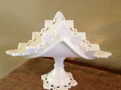 "Unusual ""Ring and Petal"" Milk Glass Banana Stand. I picture a dozen roses in this."